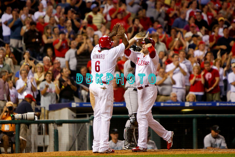 8 September 2008: Philadelphia Phillies' right fielder Jason Werth (28) gets a high five from Ryan Howard (6) after hitting a towering home run to dead center field late in the game against the Florida Marlins. Philadelphia went on to win defeating the Marlins 8-6 in Citizens Bank Stadium in Philadelphia, PA