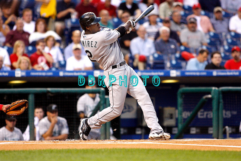 8 September 2008: Florida Marlins, Hanley Ramirez (2) swings for the fences in the game against the Philadelphia Phillies. Philadelphia went on to win defeating the Marlins 8-6 in Citizens Bank Stadium in Philadelphia, PA