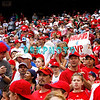 """28 September 2008: Philadelphia Phillie's fans cheer for their team and hold up """"Howard 4 MPV"""" signs in the last game of the regular seanson in the game against the Philadelphia Phillies. Philadelphia went on to win defeating the Nationals 8-3 in Citizens Bank Stadium in Philadelphia, PA"""