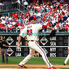 28 September 2008: Philadelphia Phillie's pitcher J.A. Happ (43) fires to home after coming in relief in the last game of the regular seanson in the game against the Philadelphia Phillies. Philadelphia went on to win defeating the Nationals 8-3 in Citizens Bank Stadium in Philadelphia, PA