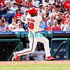 28 September 2008: Philadelphia Phillie's rookie centerfielder, Greg Golson (40) singles into left field in the last game of the regular seanson in the game against the Philadelphia Phillies. Philadelphia went on to win defeating the Nationals 8-3 in Citizens Bank Stadium in Philadelphia, PA