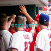 28 September 2008: Philadelphia Phillie's Jayson Werth (28) receives high fives in the dugout after stealing 2nd base and then scoring in the last game of the regular seanson in the game against the Philadelphia Phillies. Philadelphia went on to win defeating the Nationals 8-3 in Citizens Bank Stadium in Philadelphia, PA