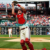 28 September 2008: Philadelphia Phillie's rookie catcher Lou Marson (3) grabs a foul pop up for an out in the last game of the regular seanson in the game against the Philadelphia Phillies. Philadelphia went on to win defeating the Nationals 8-3 in Citizens Bank Stadium in Philadelphia, PA