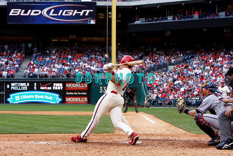 28 September 2008: Philadelphia Phillie's rookie catcher Lou Marson (3) rounds 2nd hits his first MLB home run in the last game of the regular seanson in the game against the Philadelphia Phillies. Philadelphia went on to win defeating the Nationals 8-3 in Citizens Bank Stadium in Philadelphia, PA