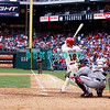 28 September 2008: Philadelphia Phillie's outfirlder Matt Stairs (12) hits a pinch hit home run in the last game of the regular seanson in the game against the Philadelphia Phillies. Philadelphia went on to win defeating the Nationals 8-3 in Citizens Bank Stadium in Philadelphia, PA