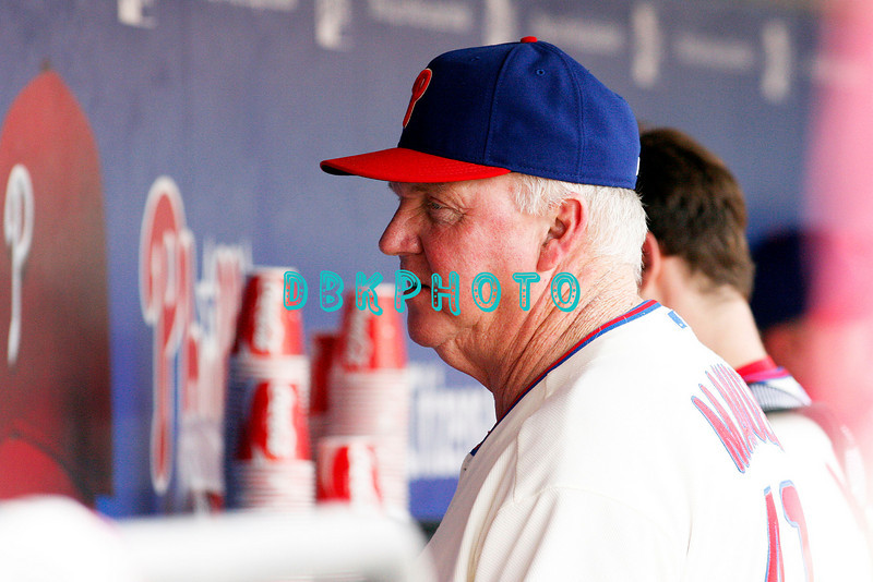 28 September 2008: Philadelphia Phillie's Manager Charlie Manuel reads line-up posted on wall of dugout before the last game of the regular seanson in the game against the Philadelphia Phillies. Philadelphia went on to win defeating the Nationals 8-3 in Citizens Bank Stadium in Philadelphia, PA