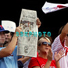 28 September 2008: Philadelphia Phillie's fans cheer widly for their tean and hold up a newspaper in the last game of the regular seanson in the game against the Philadelphia Phillies. Philadelphia went on to win defeating the Nationals 8-3 in Citizens Bank Stadium in Philadelphia, PA