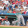 7 August 2008: Florida Marlins' 2nd baseman, Dan Uggla swings and misses as Phillies catcher Carlos Ruiz (51) awaits the ball in the game against the Philadelphia Phillies. The Marlins went on to win defeating the Phillies 3-0 in Citizens Bank Stadium in Philadelphia, PA