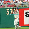 7 August 2008: Philadelphia Phillies' Centerfielder, Shane Victorino (8) chases down a long fly ball near the 374' mark against the Florida Marlins. The Marlins went on to win defeating the Phillies 3-0 in Citizens Bank Stadium in Philadelphia, PA