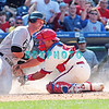 7 August 2008: Philadelphia Phillies' Catcher, Carlos Ruiz, (51) tags out Luis Gonzalez (26) at home plate as he tried to score late in the game against the Florida Marlins. The Marlins went on to win defeating the Phillies 3-0 in Citizens Bank Stadium in Philadelphia, PA