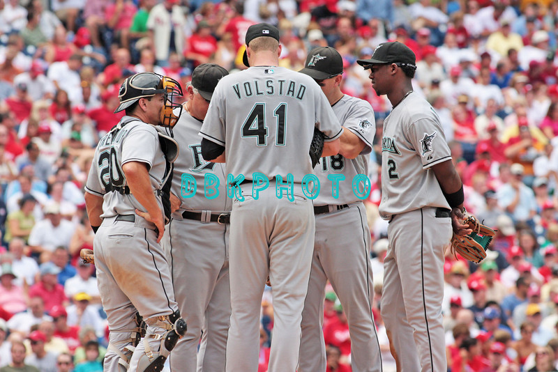7 August 2008: Florida Marlins' Matt Treanor, (20), Pitcher Chris Volstead (41) Hanley Ramires (2), Wes Helms (18)and  hold a mound meeting late in the game against the Philadelphia Phillies. The Marlins went on to win defeating the Phillies 3-0 in Citizens Bank Stadium in Philadelphia, PA