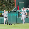 7 August 2008: Florida Marlins' Center fielder Cody Ross, (12) fires the ball in as Right fields, Jeremy Hermida (27) watches in the game against the Philadelphia Phillies. The Marlins went on to win defeating the Phillies 3-0 in Citizens Bank Stadium in Philadelphia, PA