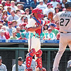7 August 2008: Philadelphia Phillies' Cather, Carlos Ruiz, (51) reaches out for the ball on an intentional walk to Marlins' pinch hitter Jeremy Hermida (27) late in the game against the Florida Marlins. The Marlins went on to win defeating the Phillies 3-0 in Citizens Bank Stadium in Philadelphia, PA