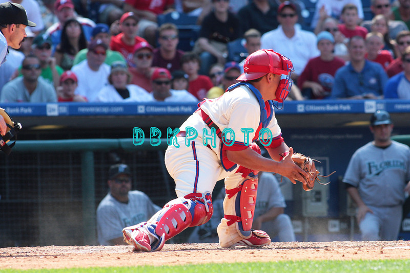 7 August 2008: Philadelphia Phillies' Catcher, Carlos Ruiz (51) sets up for a relay on a play at home against the Florida Marlins. The Marlins went on to win defeating the Phillies 3-0 in Citizens Bank Stadium in Philadelphia, PA
