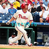 7 August 2008: Philadelphia Phillies' Shane Victorino (8) watches as his long fly stays in the ball park  against the Florida Marlins. The Marlins went on to win defeating the Phillies 3-0 in Citizens Bank Stadium in Philadelphia, PA