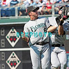 7 August 2008: Florida Marlins' 2nd baseman, Dan Uggla collides with Left filder Jeremy Hermida (27) and the ball pops loosel in the game against the Philadelphia Phillies. The Marlins went on to win defeating the Phillies 3-0 in Citizens Bank Stadium in Philadelphia, PA