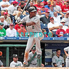 7 August 2008: Florida Marlins' Hanley Ramierz (2) prepares to swing  at a Phillies' Cole Hamels pitch. The Marlins went on to win defeating the Phillies 3-0 in Citizens Bank Stadium in Philadelphia, PA