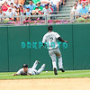 7 August 2008: Florida Marlins' Leftfielder, Josh Willingham (14) dives for a ball and misses and Shortstop Hanley Ramirez (2) runs out to assist in the game against the Philadelphia Phillies. The Marlins went on to win defeating the Phillies 3-0 in Citizens Bank Stadium in Philadelphia, PA