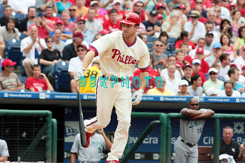 7 August 2008: Philadelphia Phillies' Chase Utley (26) tosses his bat after being walked  against the Florida Marlins. The Marlins went on to win defeating the Phillies 3-0 in Citizens Bank Stadium in Philadelphia, PA