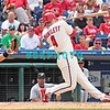 7 August 2008: Philadelphia Phillies' 3rd baseman Eric Bruntlett dives out of the way of a high inside pitch against the Florida Marlins. The Marlins went on to win defeating the Phillies 3-0 in Citizens Bank Stadium in Philadelphia, PA