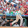 7 August 2008: Philadelphia Phillies' Chase Utley (26) swings and misses at a low pitch as Marlins cather Matt Treanor (20) grabs the ball against the Florida Marlins. The Marlins went on to win defeating the Phillies 3-0 in Citizens Bank Stadium in Philadelphia, PA