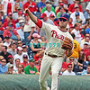 7 August 2008: Philadelphia Phillies' 3rd baseman Eric Bruntlett (4) throws a runner out at first base late in the game against the Florida Marlins. The Marlins went on to win defeating the Phillies 3-0 in Citizens Bank Stadium in Philadelphia, PA