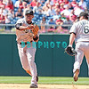 7 August 2008: Florida Marlins' Hanley Ramirez, (2) throws over to first base as 2nd baseman, Dan Uggla moves out of the way in the game against the Philadelphia Phillies. The Marlins went on to win defeating the Phillies 3-0 in Citizens Bank Stadium in Philadelphia, PA
