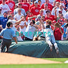 7 August 2008: Florida Marlins' 3rd baseman, Wes Helms (18) dives into stand to try to catch a foul ball pop-up in the game against the Philadelphia Phillies. The Marlins went on to win defeating the Phillies 3-0 in Citizens Bank Stadium in Philadelphia, PA