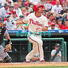 7 August 2008: Florida Marlins' Catcher, Matt Treanor (20) and Philadelphia Phillies Shane Victorino, (8) watch the high fly ball hit against the Philadelphia Phillies. The Marlins went on to win defeating the Phillies 3-0 in Citizens Bank Stadium in Philadelphia, PA