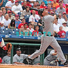 7 August 2008: Florida Marlins 3rd baseman Wes Helms (18) fouls off a pitch during the game with the Philadelphia Phillies. The Marlins went on to win defeating the Phillies 3-0 in Citizens Bank Stadium in Philadelphia, PA