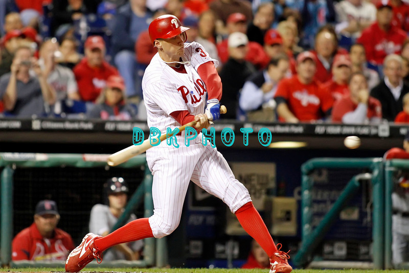September 19, 2011, Philadelphia, Pennsylvania, U.S. HUNTER PENCE, #3 outfielder of the Phillie's, swings at an incoming pitch during the game between the Phillie's and the St. Louis Cardinals at Citizens Bank Park, Philadelphia, PA. The Cardinals defeated the Phillie's 4-3.