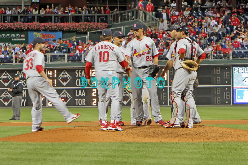 September 19, 2011, Philadelphia, Pennsylvania, U.S. TONY LA RUSSA, #10 Manager of the Cardinals takes the ball from KYLE LOHSE, #26 during the game between the Phillie's and the St. Louis Cardinals at Citizens Bank Park, Philadelphia, PA. The Cardinals defeated the Phillie's 4-3.