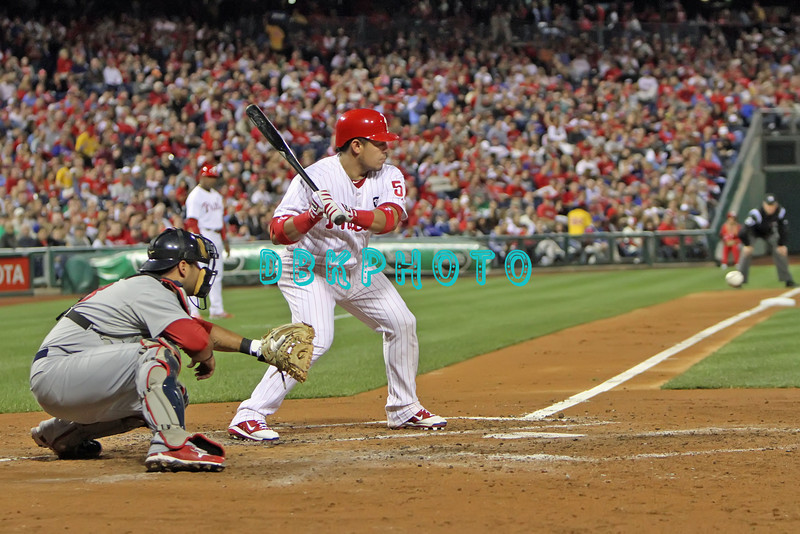 September 19, 2011, Philadelphia, Pennsylvania, U.S.  CARLOS RUIZ, #51 catcher of the Phillie's in action during the game between the Phillie's and the St. Louis Cardinals at Citizens Bank Park, Philadelphia, PA. The Cardinals defeated the Phillie's 4-3.