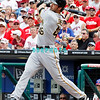 July 31, 2011 Pittsburgh Pirate's, Garrett Jones, outfielder, #46, hits a line drive during the game against the Philadelphia Phillie's at Citizens Bank Park in Philadelphia, PA. The Phillie's defeated the Pirates 6-5 in 10 innings. <br /> (Credit Image: ©  Donald B. Kravitz