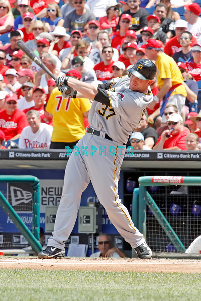 July 31, 2011 Pittsburgh Pirate's, Lyle Overbay, 1st baseman, #37, hits a long fly ball during the game against the Philadelphia Phillie's at Citizens Bank Park in Philadelphia, PA. The Phillie's defeated the Pirates 6-5 in 10 innings. <br /> (Credit Image: ©  Donald B. Kravitz