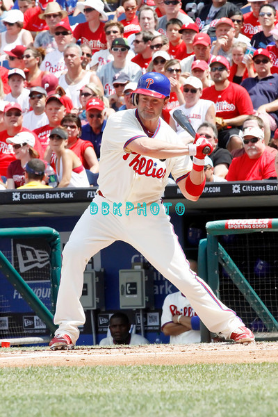 July 31, 2011 Philadelphia Phillie's, Brian Schneider, Catcher, #23, watches a fast ball go by during the game against the Pittsburgh Pirate's at Citizens Bank Park in Philadelphia, PA. The Phillie's defeated the Pirates 6-5 in 10 innings. <br /> (Credit Image: ©  Donald B. Kravitz