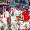 July 31, 2011 Philadelphia Phillie's,players have a pitchers mound meeting during the game against the Pittsburgh Pirate's at Citizens Bank Park in Philadelphia, PA. The Phillie's defeated the Pirates 6-5 in 10 innings. <br /> (Credit Image: ©  Donald B. Kravitz