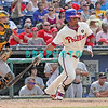 July 31, 2011 Philadelphia Phillie's, Michael Martinez, infielder, #19, hits a line drive to center during the game against the Pittsburgh Pirates' at Citizens Bank Park in Philadelphia, PA. The Phillie's defeated the Pirates 6-5 in 10 innings. <br /> (Credit Image: ©  Donald B. Kravitz