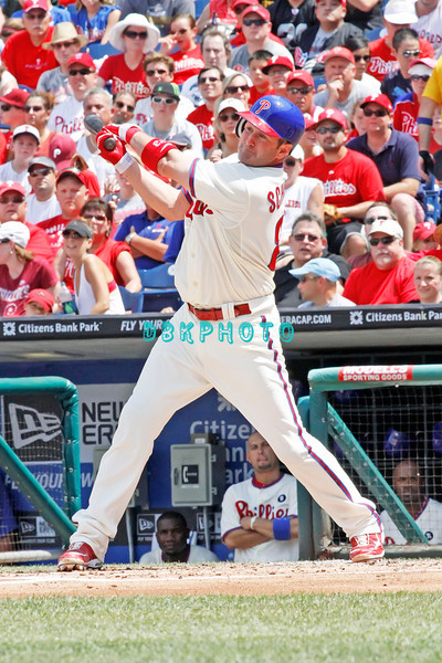 July 31, 2011 Philadelphia Phillie's, Brian Schneider, Catcher, #23, grounds out during the game against the Pittsburgh Pirate's at Citizens Bank Park in Philadelphia, PA. The Phillie's defeated the Pirates 6-5 in 10 innings. <br /> (Credit Image: ©  Donald B. Kravitz