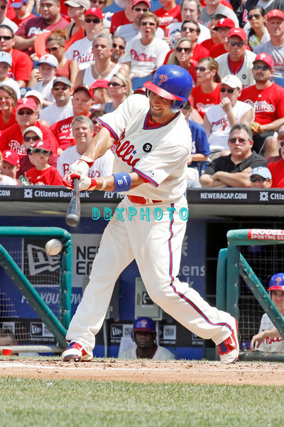 July 31, 2011 Philadelphia Phillie's, outfielder, Shane Victorino, #8 fouls off a pitch during the game against the Pittsburgh Pirate's at Citizens Bank Park in Philadelphia, PA. The Phillie's defeated the Pirates 6-5 in 10 innings. <br /> (Credit Image: ©  Donald B. Kravitz