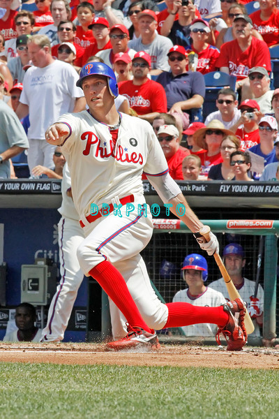 July 31, 2011 Philadelphia Phillie's, outfielder, Hunter Pence, # doubles to left field during the game against the Pittsburgh Pirates' at Citizens Bank Park in Philadelphia, PA. The Phillie's defeated the Pirates 6-5 in 10 innings. <br /> (Credit Image: ©  Donald B. Kravitz