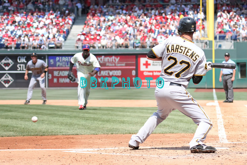 July 31, 2011 Pittsburgh Pirate's, Jeff Karstens, pitcher, #27, lays down a bunt during the game against the Philadelphia Phillie's at Citizens Bank Park in Philadelphia, PA. The Phillie's defeated the Pirates 6-5 in 10 innings. <br /> (Credit Image: ©  Donald B. Kravitz