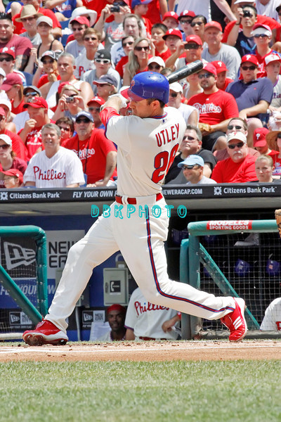 July 31, 2011 Philadelphia Phillie's,#26 2nd Baseman, Chase Utley, grounds out to second base during the game against the Pittsburgh Pirates' at Citizens Bank Park in Philadelphia, PA. The Phillie's defeated the Pirates 6-5 in 10 innings. <br /> (Credit Image: ©  Donald B. Kravitz