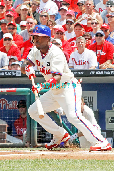 July 31, 2011 Philadelphia Phillie's,#11 Shortstop, Jimmy Rollins,trys to bunt his way on base during the game against the Pittsburgh Pirate's at Citizens Bank Park in Philadelphia, PA. The Phillie's defeated the Pirates 6-5 in 10 innings. <br /> (Credit Image: ©  Donald B. Kravitz