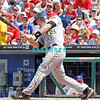 July 31, 2011 Pittsburgh Pirate's, Eric Fryer, Catcher, #69, hits a fly ball during the game against the Philadelphia Phillie's at Citizens Bank Park in Philadelphia, PA. The Phillie's defeated the Pirates 6-5 in 10 innings. <br /> (Credit Image: ©  Donald B. Kravitz