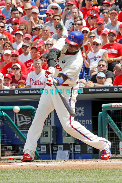 July 31, 2011 Philadelphia Phillie's,1st Baseman, Ryan Howard, #6, doubles to right field during the game against the Pittsburgh Pirates' at Citizens Bank Park in Philadelphia, PA. The Phillie's defeated the Pirates 6-5 in 10 innings. <br /> (Credit Image: ©  Donald B. Kravitz