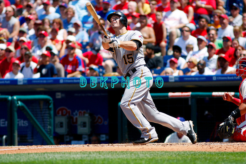 July 12, 2009: Pirates 3rd baseman Andy LaRoche (15) watches a long fly ball to left during the game between the Pittsburgh Pirates and the Philadelphia Phillies at Citzens Bank Park in Philadelphia, PA. The Phillies beat the Pirates 5-2. Donald B. Kravitz