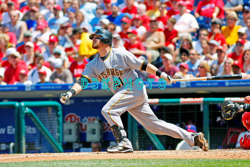July 12, 2009: Pirates catcher Ryan Doumit (41) hits a long fly ball during the game between the Pittsburgh Pirates and the Philadelphia Phillies at Citzens Bank Park in Philadelphia, PA. The Phillies beat the Pirates 5-2. Donald B. Kravitz