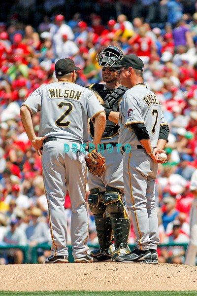 July 12, 2009: Pirates Shortstop, Jack Wilson (2) join Manage John Russell (7) and catcher Ryan Doumit (41) for a meeting at the mound early in the game between the Pittsburgh Pirates and the Philadelphia Phillies at Citzens Bank Park in Philadelphia, PA. The Phillies beat the Pirates 5-2. Donald B. Kravitz