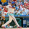 July 12, 2009: Phillies 1st baseman Ryan Howard (6) hits a line drive to right field during the game between the Pittsburgh Pirates and the Philadelphia Phillies at Citzens Bank Park in Philadelphia, PA. The Phillies beat the Pirates 5-2. Donald B. Kravitz